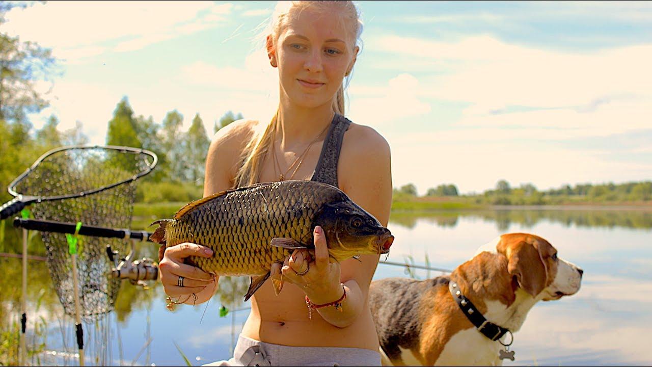 жена на рыбалке карася и карпа