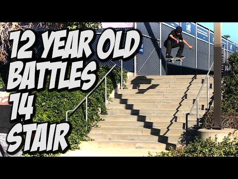 12 YEAR OLD SKATEBOARDER BATTLES 14 STAIR - A DAY WITH NKA