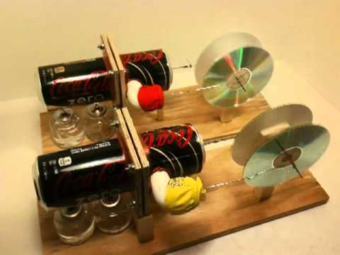 Two Horizontal Pop Can Stirling Engines