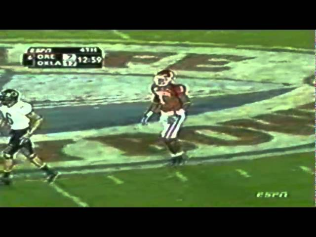 Dumbest/ballsiest playcall ever. Ducks run flea-flicker in endzone 12-29-05