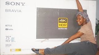 """My HUGE😱 Birthday Gift    Sony Bravia 75"""" Ultra 4K HD   Unboxing Review & Wall Mounting"""