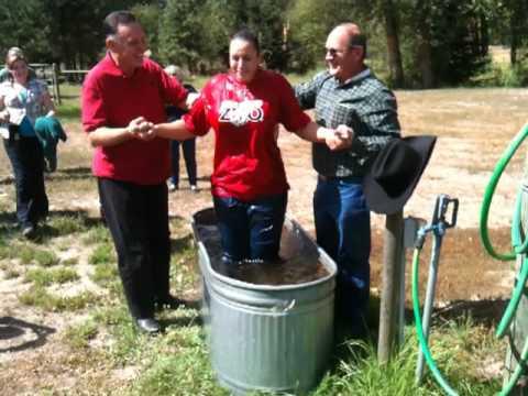 Bonnie being Baptized at Cocolalla Cowboy Church