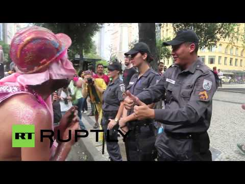 Brazil: Topless Pink Bloc protesters bring carnival to anti-World Cup clashes