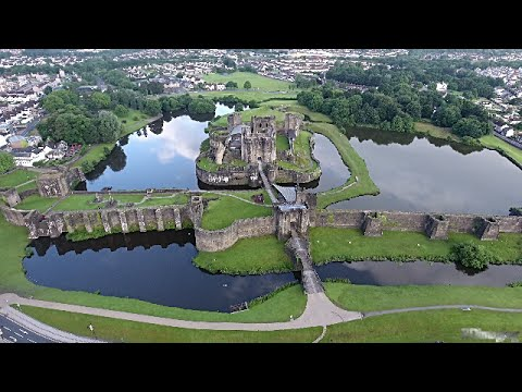 Caerphilly Castle from above - DJI Phantom 4