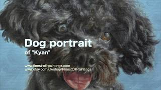 "Dog portrait, oil painting of ""Kyan"" time-lapse, speed-painting"