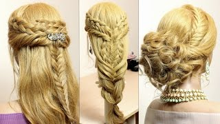 3 easy braid hairstyles for long medium hair. Tutorial