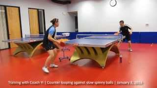 Training with Coach Yi: Counter looping against slow, spinny top spin balls