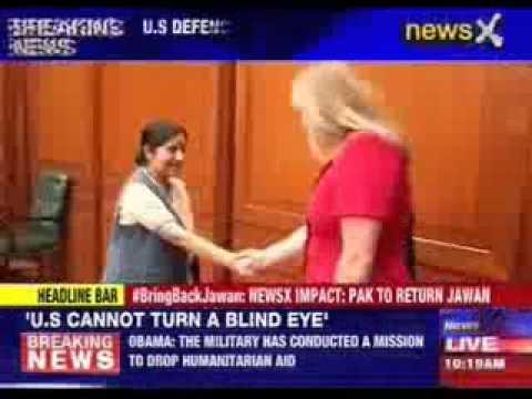 U.S Defence Secretary Chuck Hagel meets Sushma Swaraj