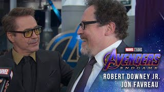 Robert Downey Jr. and Jon Favreau at the Premiere