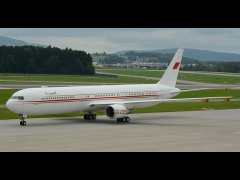 Bahrain Amiri Flight Boeing-767 landing and taxiing at ZRH