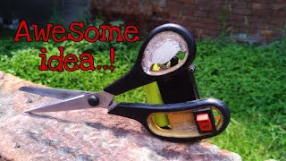 Amazing life hacks DC Motor.home made electronic scissors very easy at home