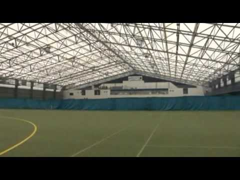 Aerial, exterior and interior footage of the Meadowbank Sports Arena in Magherafelt, Mid-Ulster, Ireland. View more information about Rubb Sports Buildings a...