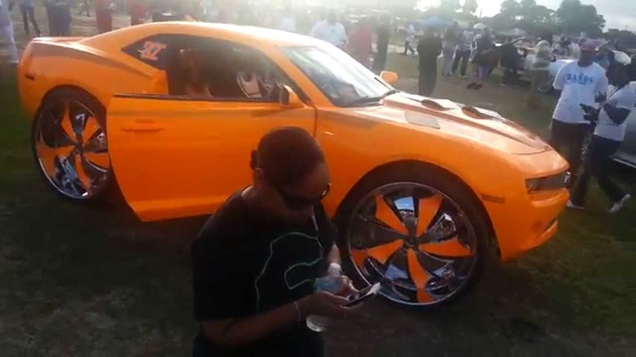 Riding Big Car Show 2014 Sick Camaro Big 32 Inch Rims