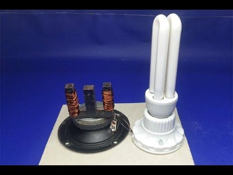220V light bulb with Speaker Magnets , Free energy thumbnail