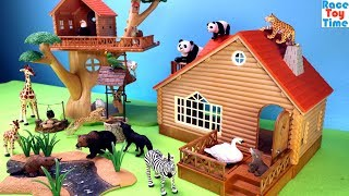 Toy Animals in the Wildlife cabin and treehouse - Fun Animal Toys For Kids
