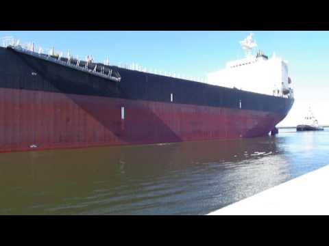 Big ship entering Ravenna harbour (Italy)