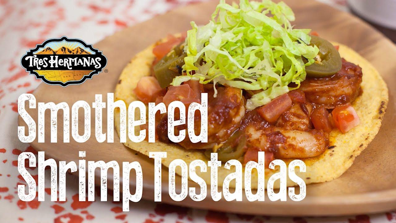 Smothered Shrimp Tostadas Recipe — Dishmaps