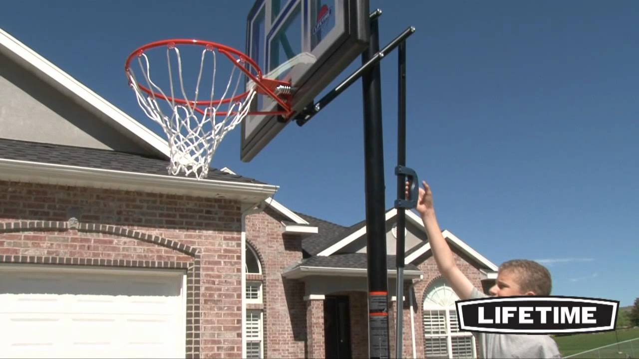 Lifetime portable basketball ball hoop model 51550 youtube for How to build a basketball goal