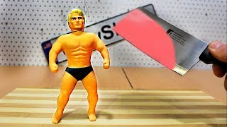 EXPERIMENT: Glowing 1000 degree MEAT CHOPPER vs Stretch Armstrong