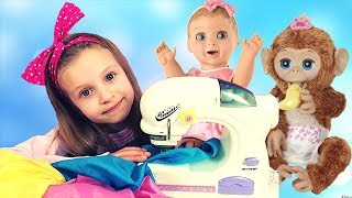 Sofia Plays with Toy Sewing machine and Sews Beautiful Dresses for Dolls
