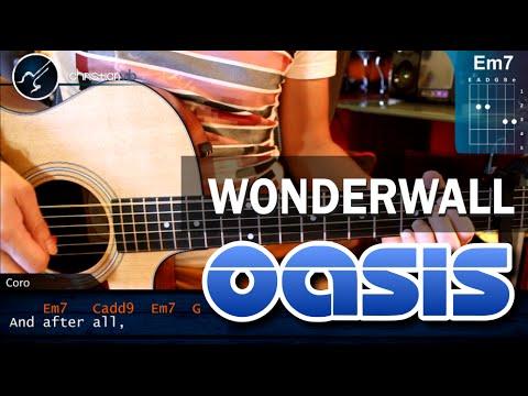 Como tocar Wonderwall OASIS En Guitarra Acustica HD Tutorial Acordes COMPLETO