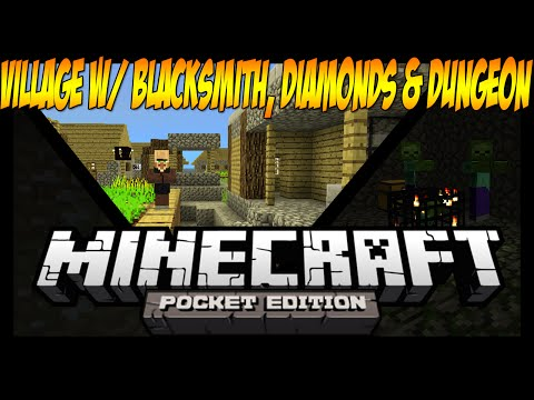 0.10.0+ Village With Blacksmith, Diamonds And Dungeon Seed - Minecraft: Pocket Edition Seed Showcase