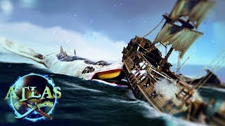 Atlas - THE MONSTER WHALE ATTACKS - Every Atlas Ship & Building, Biggest End Game Galleon - Gameplay
