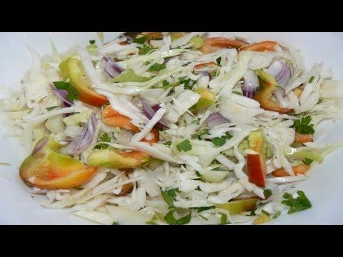 Как готовить салат из капусты с перцем сладким.