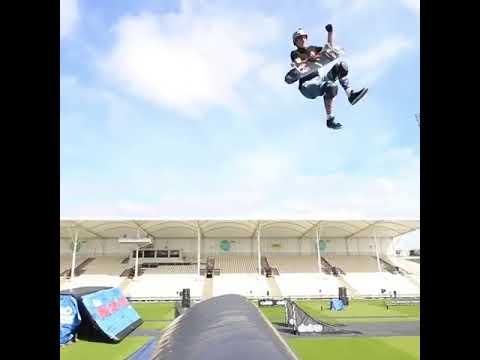 New trick from @beaverfleming 😮 Frontside Varial Fingerflip Cork 720 | Shralpin Skateboarding