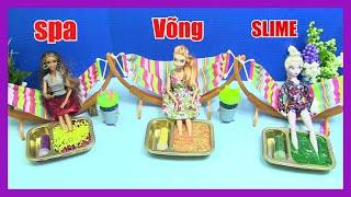 Spa Võng - Làm 3 Loại Slime : Slime Xốp. Slime Ngọc Trai. Slime Kim Tuyến cho Búp Bê Elsa Anna