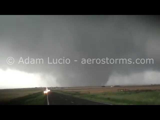 Huge tornado near Elmer Oklahoma. Huge Hail destroys vehicle. May 16th 2015