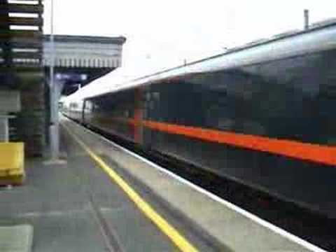 An InterCity 225 passes Biggleswade station in Bedfordshire, England.