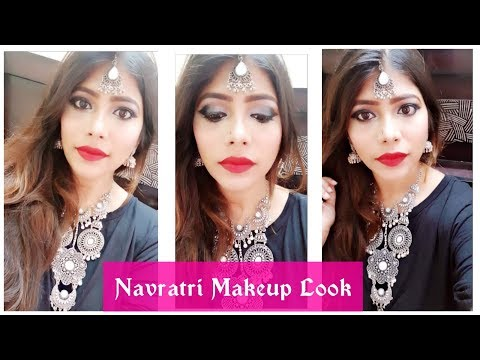 Navratri Makeup Look 2018 || Black & Gray Eye Look