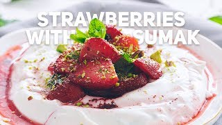 Roasted Strawberries with Sumak, Yogurt, and Mint
