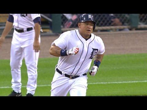 CLE@DET: Miggy slugs a three-run shot to deep center