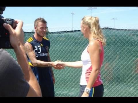 Caroline Wozniacki Meets David Beckham and the LA Galaxy