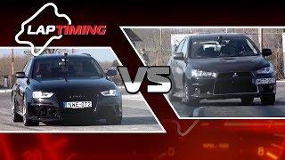 Laptiming: Audi RS4 4.2  vs. Mitsubishi EVO X DCT (eng sub)
