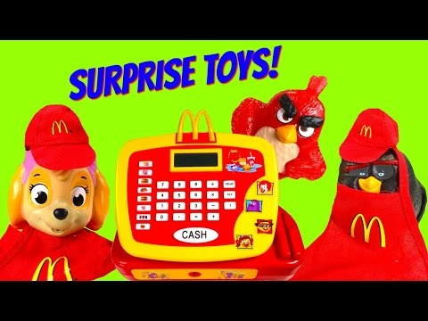 McDonald's Toy Surprise Cash Register! Skye, Paw Patrol and Angry Birds Order Blind Bags!
