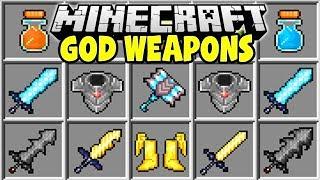 Minecraft GOD WEAPONS MOD | POWERFUL MINECRAFT SWORDS & ARMOR!!