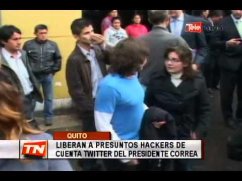 Liberan a presuntos hackers de cuenta Twitter del presidente Correa