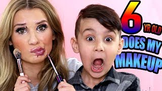 My 6 Year Old Brother Does My FULL FACE of Makeup!