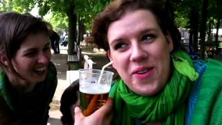 Czech girl drinks beer with her ear