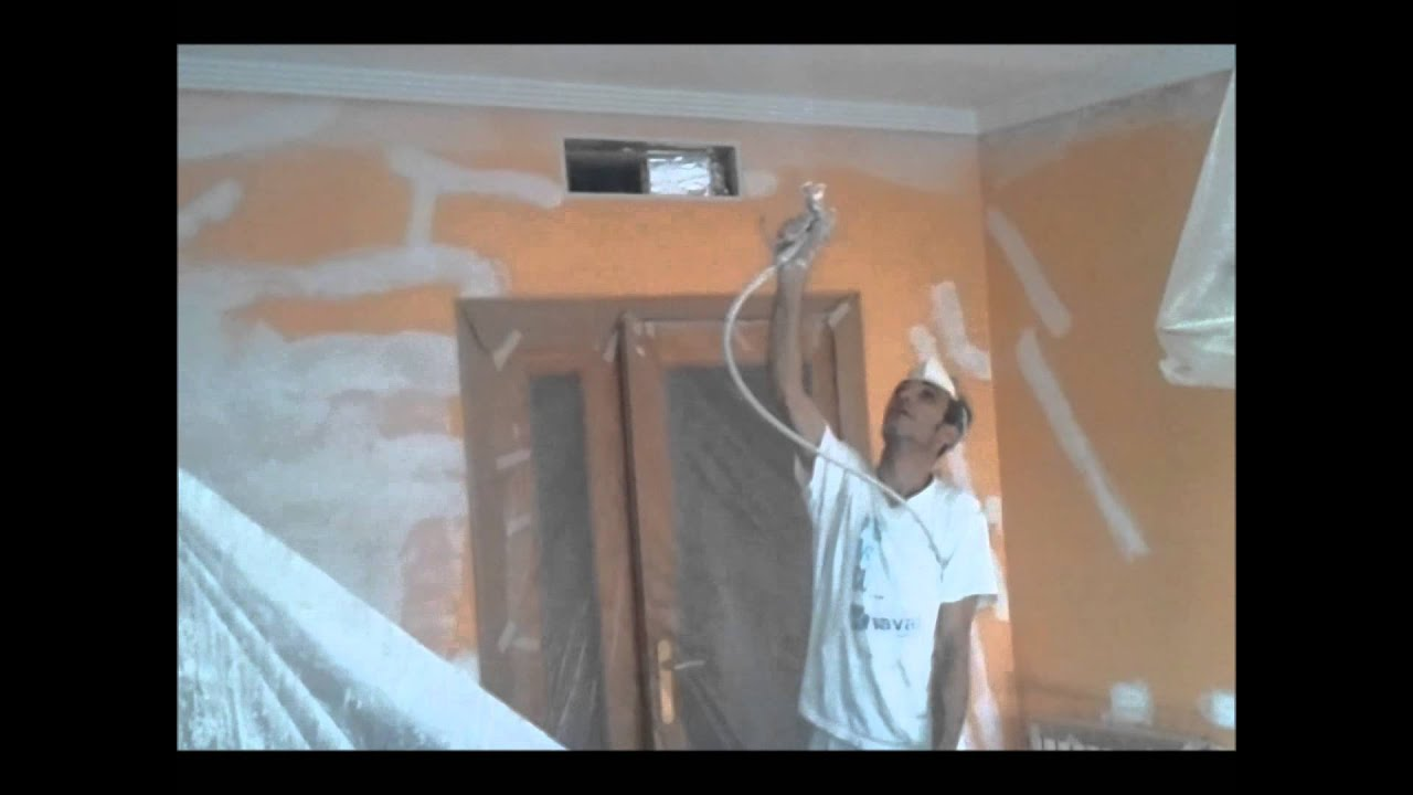 Pintar techos a pistola airless y paredes en color naranja - Pintura para pared lavable ...