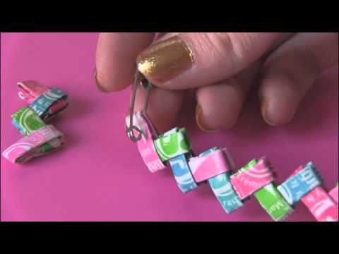 Diy: Candy Wrapper Link Jewelry. [[starburst Bracelet]] video