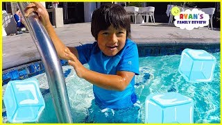 Ryan Swims in Super Cold Icy Swimming Pool!!!