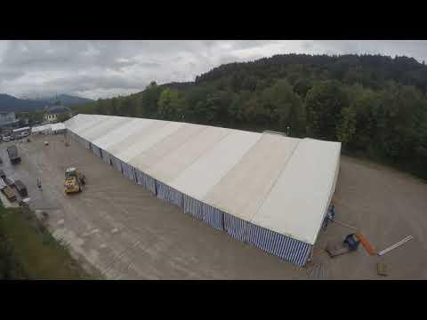 Aufbau Festzelt Oberlandler Gaufest 2018 Bad Tölz