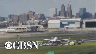 United Airlines flight skids off runway at Newark Airport