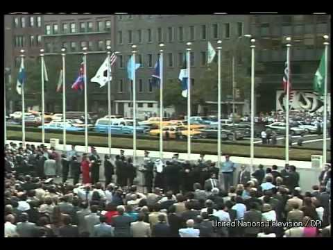 The flag of Lithuania being raised at the UN Headquarters