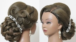 Bridal hairstyle for long hair. Wedding updo tutorial