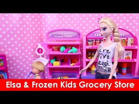 Elsa & Frozen Kids Grocery Store Challenge ❤ Barbie Supermarket Health Food Battle children's entert